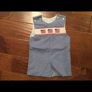 Baby boy This and That smocked sunsuit romper 18M